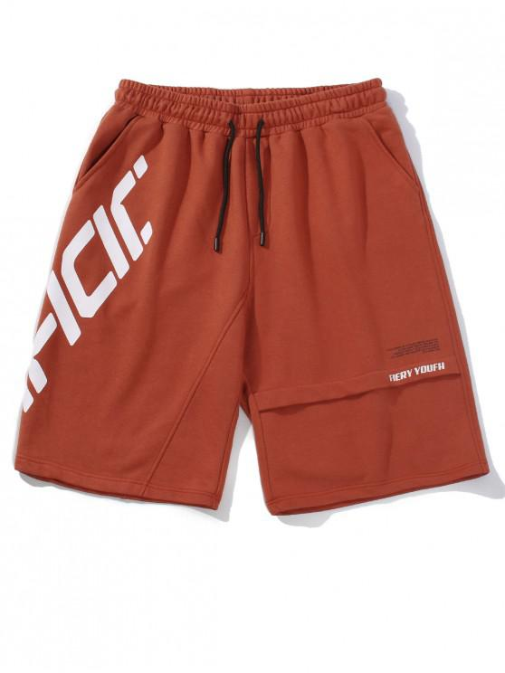 Slant Letter Graphic Casual Straight Shorts - أحمر XL