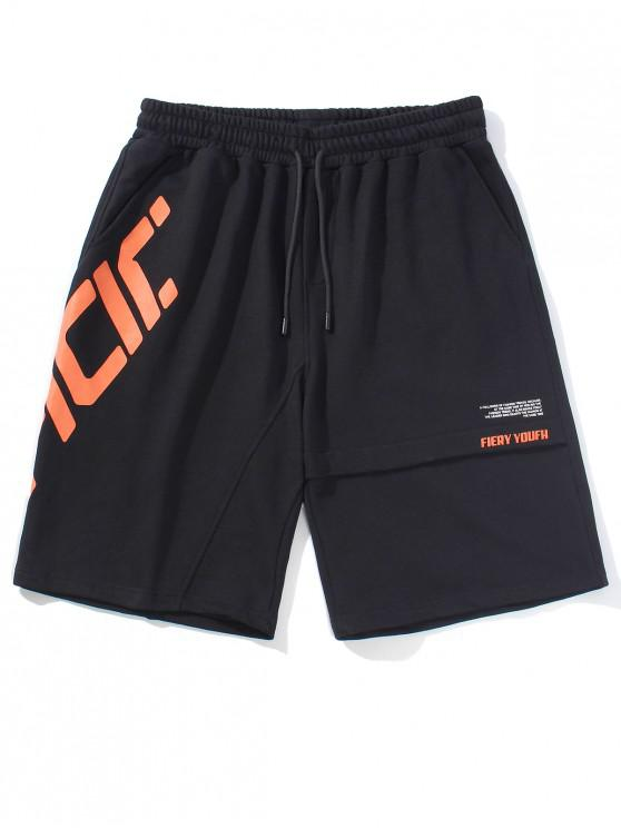 shops Slant Letter Graphic Casual Straight Shorts - BLACK 2XL
