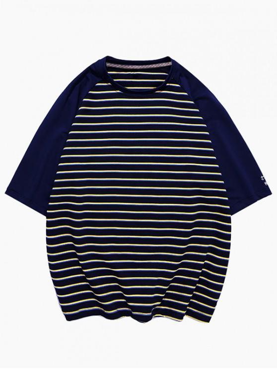 chic Striped Colorblock Raglan Sleeve T-shirt - BLACK 3XL