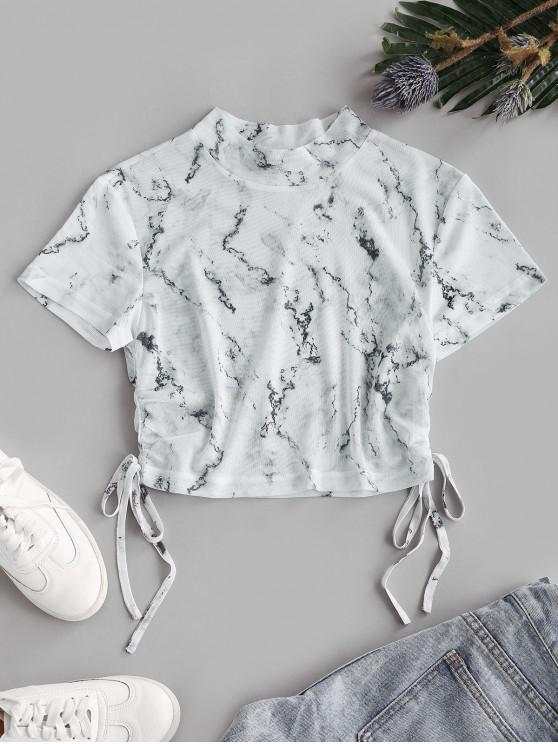 shops ZAFUL Marble Print Mesh Cinched Crop T-shirt - WHITE M