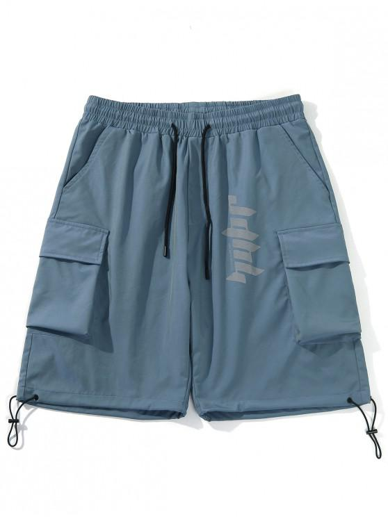 Flap Pockets Drawstring Hem Casual Straight Shorts - أزرق XL