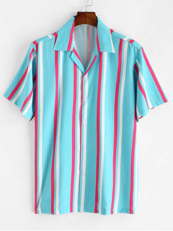 trendy Striped Button Up Short Sleeve Shirt - LIGHT BLUE 2XL