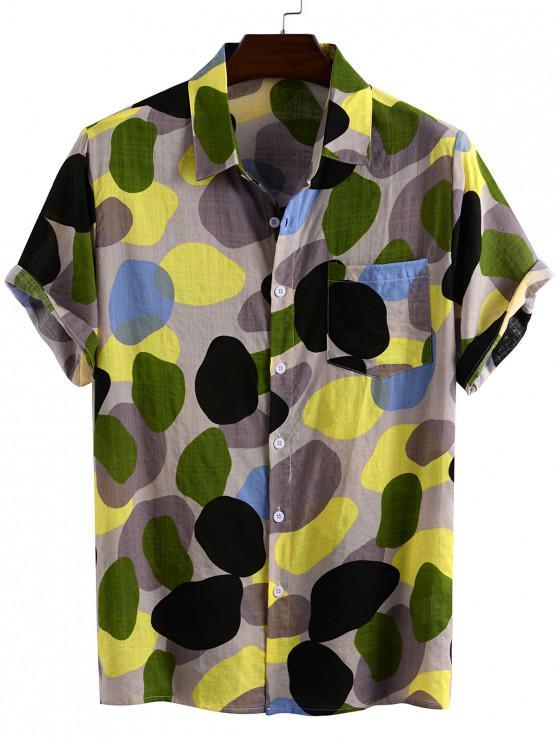 fashion Cobblestone Print Chest Pocket Button Up Shirt - YELLOW 3XL