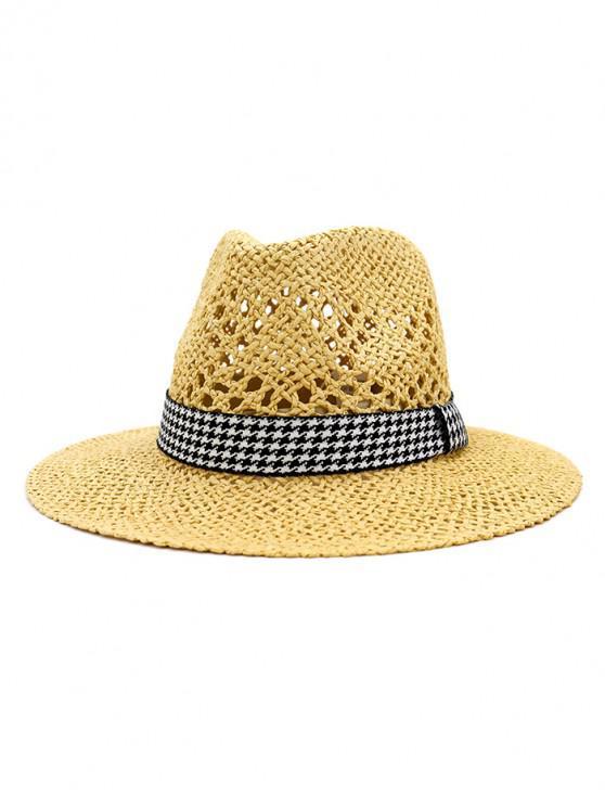 Outdoor Houndstooth Embellished Straw Hat - Cornsilk
