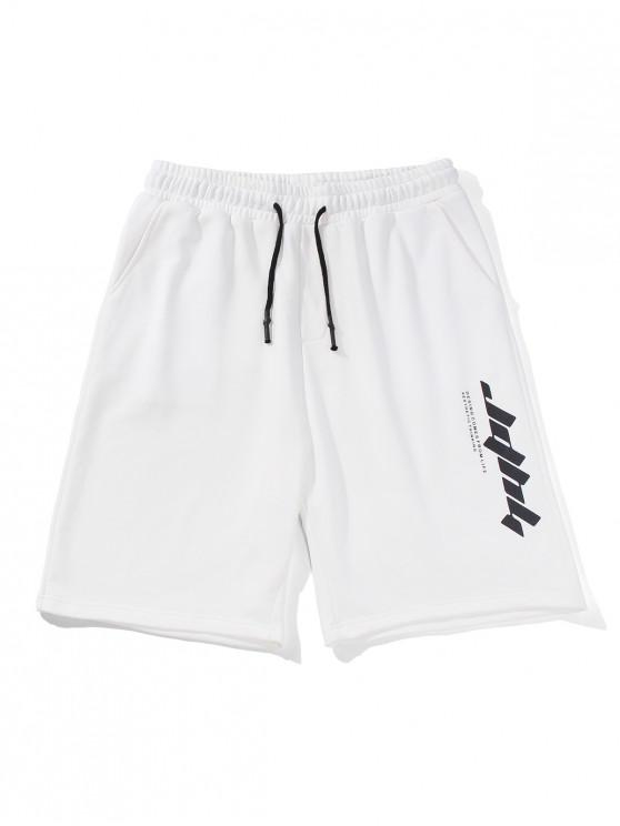 fancy Letter Text Drawstring Straight Shorts - WHITE 2XL