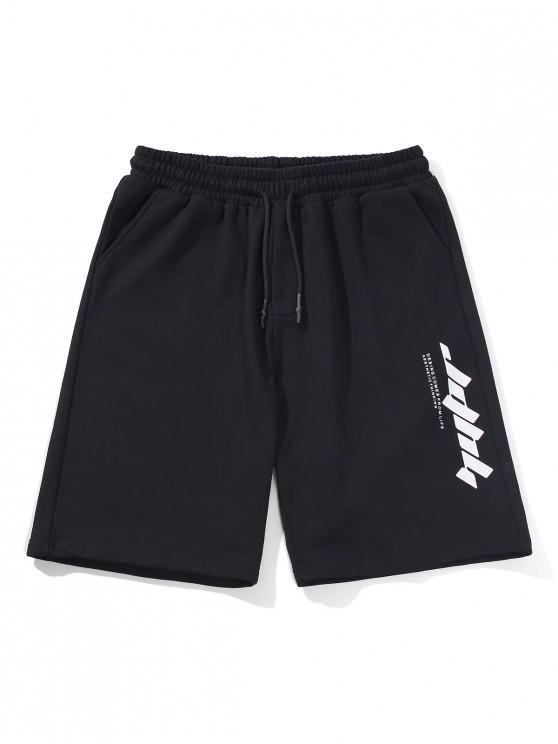 buy Letter Text Drawstring Straight Shorts - BLACK 2XL