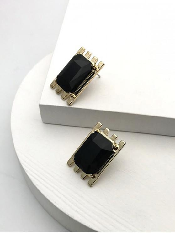 hot Alloy Square Faux Crystal Earrings - BLACK