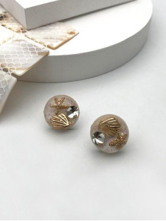unique Starfish Rhinestone Glass Stud Earrings - GOLDEN