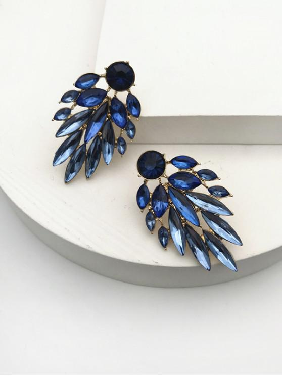chic Leaf Drop Rhinestone Earrings - CRYSTAL BLUE