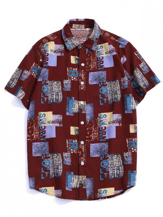 Camisa de Manga Curta de Padrão de Letra com Bloco de Cor - Vermelho escuro 2XL