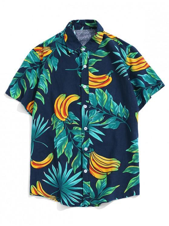 chic Banana Leaf Print Beach Button Up Shirt - MULTI-C 2XL