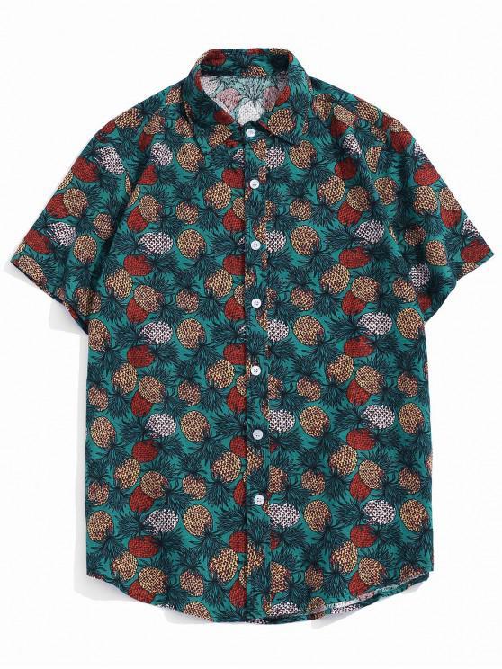 Tropical Pineapple Print Short Sleeve Button Up Shirt - أخضر XS