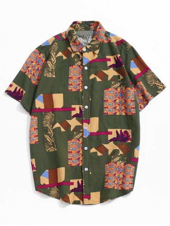 Printed Button Up Retro Linen Shirt - ديب غرين 2XL