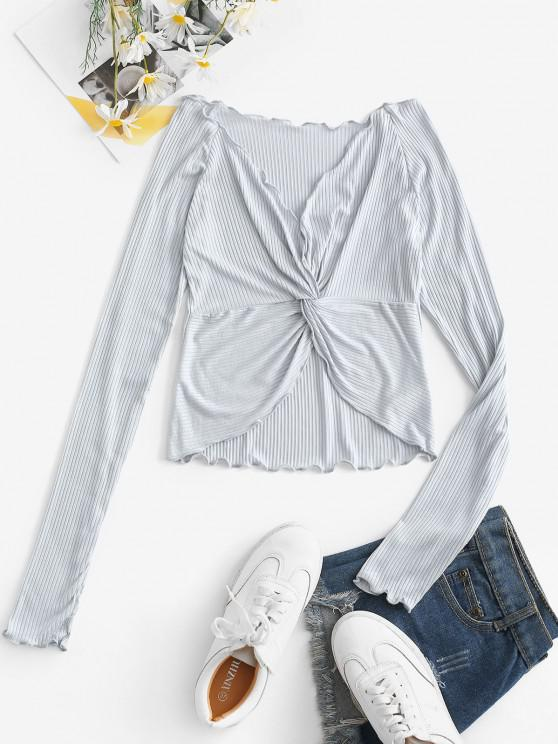 outfit Lettuce-trim Ribbed Twist Long Sleeve Top - LIGHT BLUE M