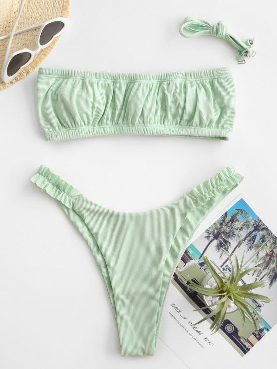 outfits ZAFUL Ribbed Frilled High Cut Bandeau Bikini Swimwear - LIGHT GREEN S