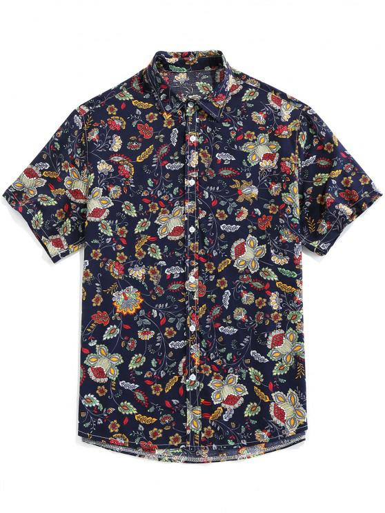 outfit ZAFUL Floral Print Button Up Vintage Shirt - DEEP BLUE L