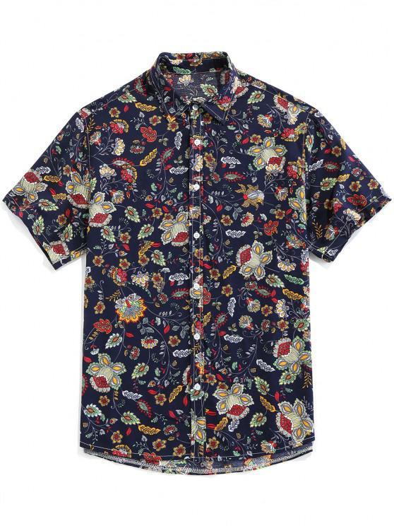 ZAFUL Camisa Vintage con Estampado Floral y Botón - Azul Profundo XL