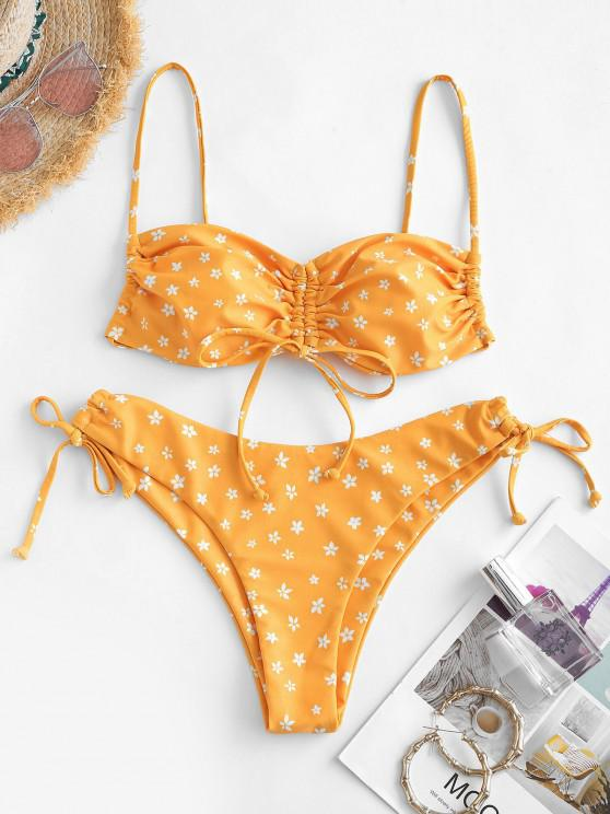 shop ZAFUL Ditsy Floral Cinched Tie Bikini Swimwear - DARK ORANGE S