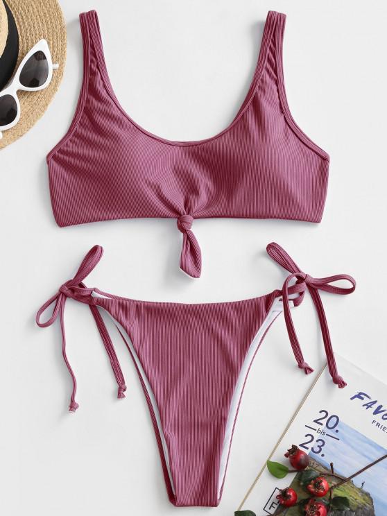 chic ZAFUL Ribbed Knot Tie Side Bikini Swimsuit - LIGHT PINK S