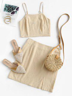 ZAFUL Smocked Back Slit Cami Two Piece Set - Khaki L