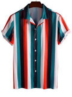 Color Blocking Stripes Button Up Shirt - Red M
