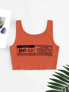 Letter Graphic Ribbed Tank Top - Orange S