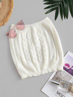 Cable Knitted Plain Tube Top - White
