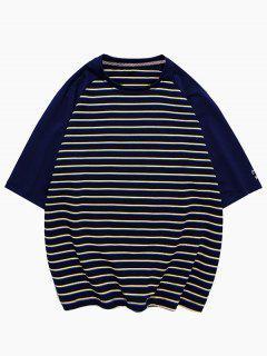 Striped Colorblock Raglan Sleeve T-shirt - Black 3xl