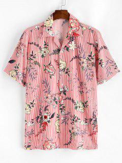 Floral Striped Print Camp Collar Shirt - Pink M