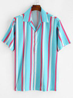 Striped Button Up Short Sleeve Shirt - Light Blue L