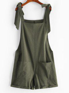 Tie Front Pocket Cuffed Romper - Green S
