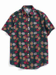 Tropical Pineapple Print Short Sleeve Button Up Shirt - Purple Xs
