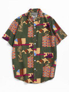 Printed Button Up Retro Linen Shirt - Deep Green S