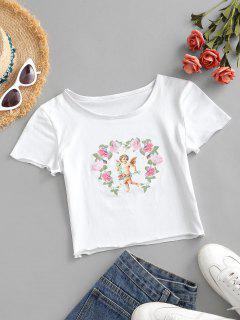 Flower Angel Print Crop T-shirt - White M