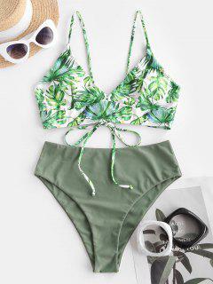 ZAFUL Palm Leaf Lace-up Tropical Bikini Swimwear - Light Green M