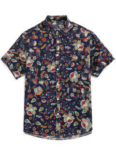 ZAFUL Floral Print Button Up Vintage Shirt - Deep Blue M