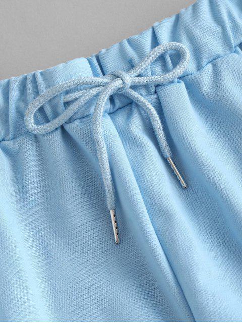 womens Drawstring Running Shorts - JEANS BLUE M Mobile
