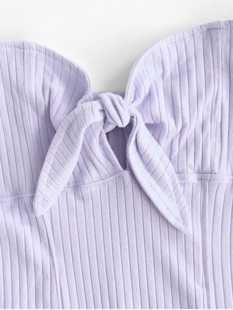 shops Off Shoulder Knotted Flutter Sleeve Crop Top - LIGHT PURPLE S Mobile
