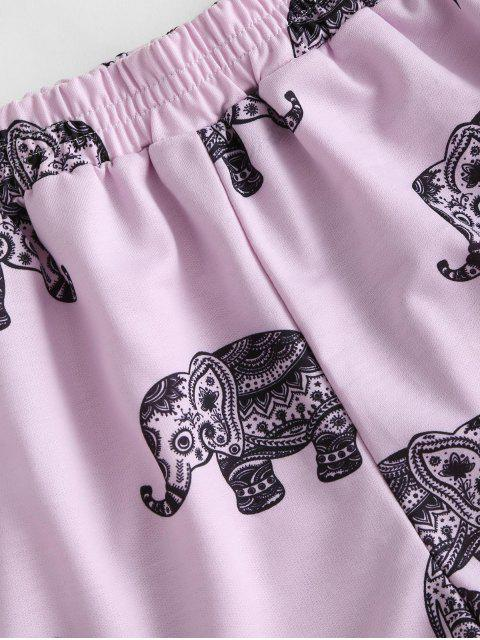 affordable High Waisted Elephant Print Dolphin Shorts - LIGHT PURPLE S Mobile