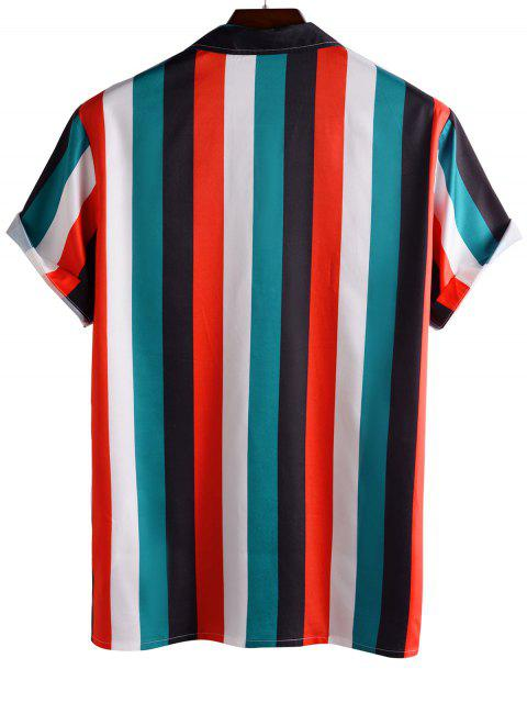 sale Color Blocking Stripes Button Up Shirt - RED M Mobile