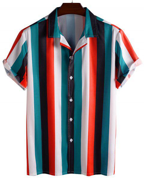 womens Color Blocking Stripes Button Up Shirt - RED 2XL Mobile