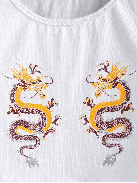 ZAFUL Alface Guarnição Gráfico Dragão Oriental Tee - Branco XL Mobile