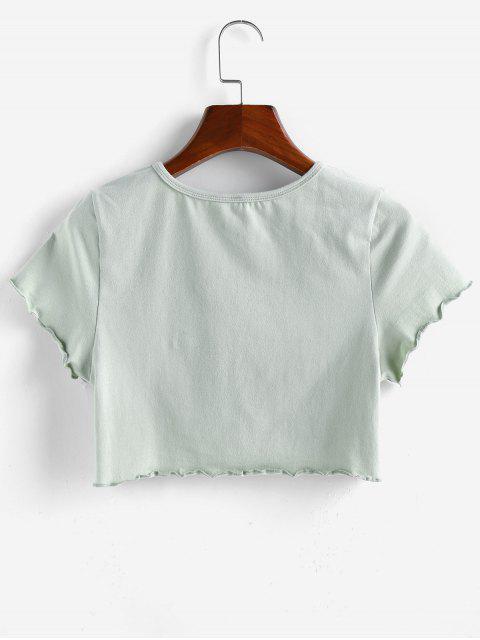 ZAFUL Drache Grafik Kopfsalat Trim T-Shirt - Dunkles Meergrün M Mobile