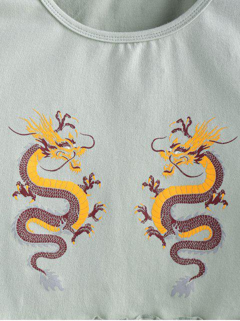 unique ZAFUL Dragon Graphic Lettuce Trim Oriental Tee - DARK SEA GREEN M Mobile