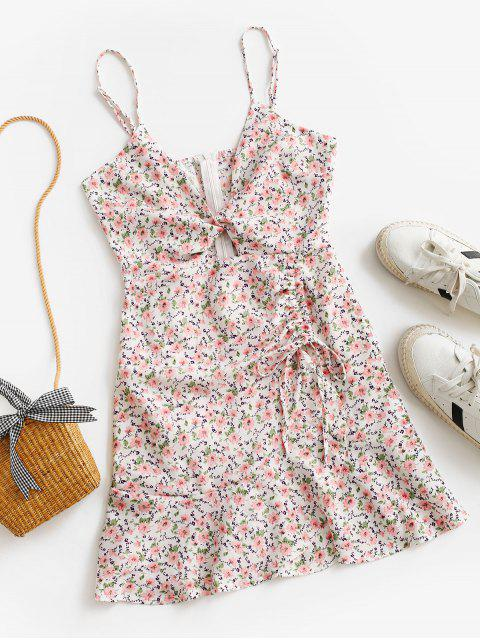 shops Cinched Twist Ditsy Floral Cami Dress - WHITE L Mobile