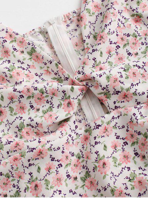 Geschnürte Verdrehte Ditsy Blumen Cami Kleid - Weiß M Mobile