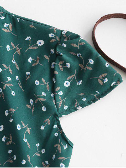 Ditsy Blumen Mini Wickelkleid mit Flügelärmeln - Dunkelgrün S Mobile