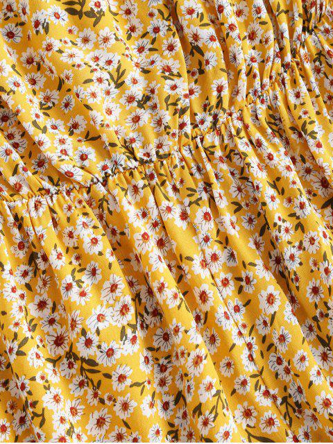 affordable Ditsy Print Wide Leg Bandeau Romper - YELLOW M Mobile