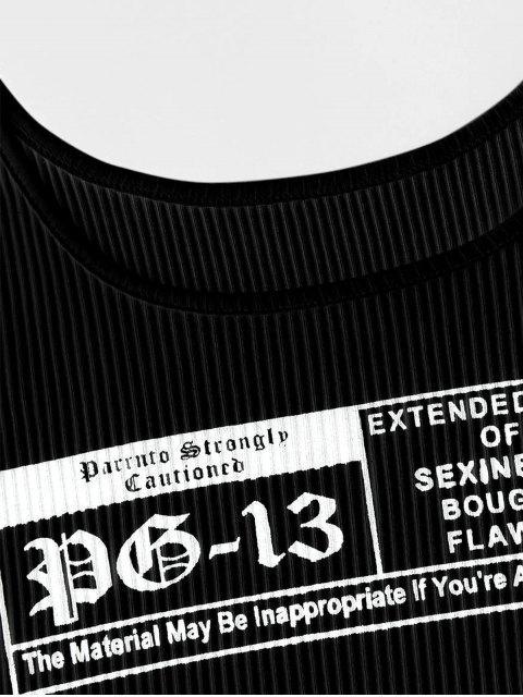 Débardeur Côtelé Lettre Graphique - Noir XL Mobile