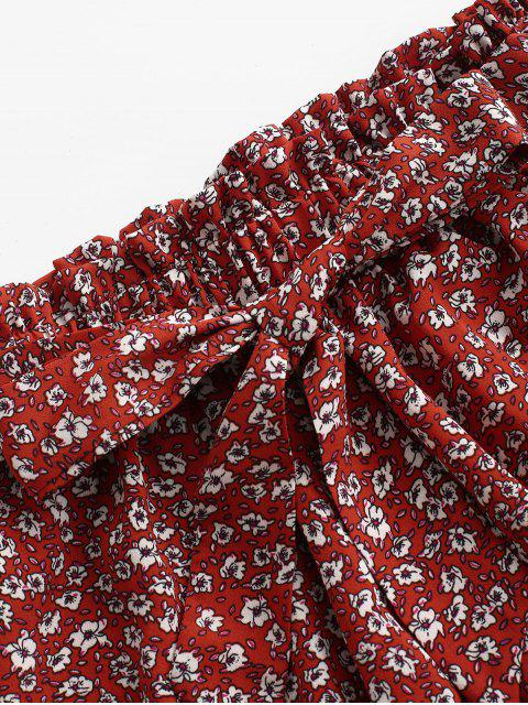 women Ditsy Print Paperbag Shorts - RED M Mobile